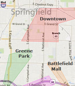 Map of Springfield, MO hotels