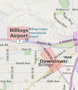 Map of Billings, MT hotels