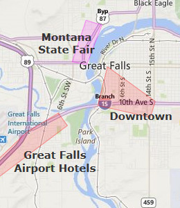 Map Of Great Falls Montana And Vicinity With Built Up