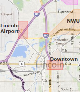 Map of Lincoln, NE hotels