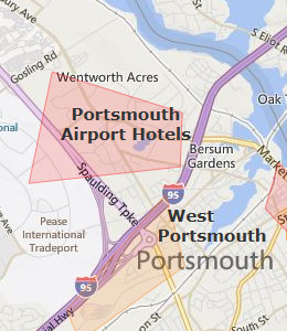 Map of Portsmouth, NH hotels