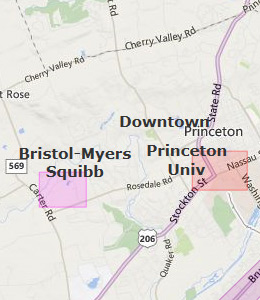 Map of Princeton, NJ hotels
