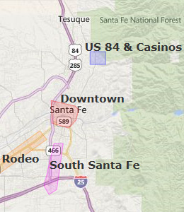 Map of Santa Fe, NM hotels