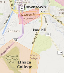 Map of Ithaca, NY hotels