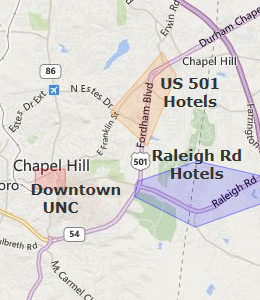 Map of Chapel Hill, NC hotels