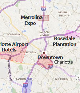 Map of Charlotte, NC Hotels | HotelGuides.com