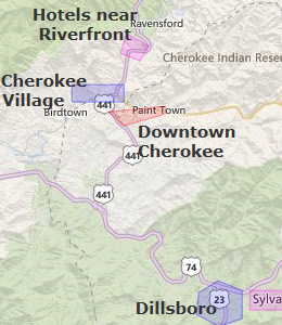 Map of Cherokee, NC hotels