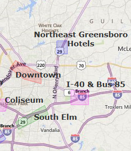 Map of Greensboro, NC hotels