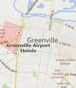 Map of Greenville, NC hotels