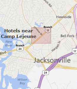 Map of Jacksonville, NC hotels