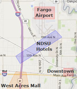 Map of Fargo, ND hotels