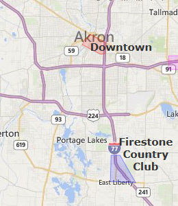 Map of Akron, OH hotels
