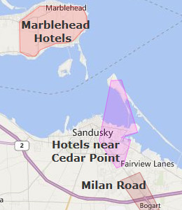 Map of Sandusky, OH hotels