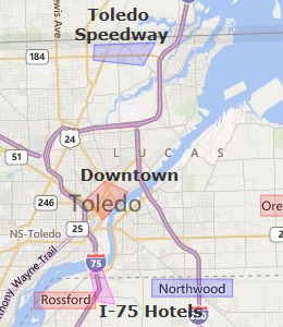 Map of Toledo, OH hotels