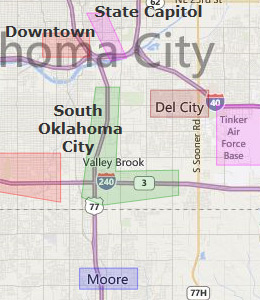 Map of Oklahoma City, OK hotels