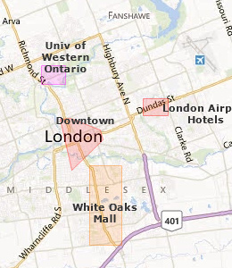 Map of London, ON hotels