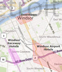 Map of Windsor, ON hotels