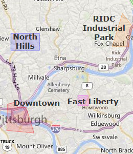 Downtown Pittsburgh Map - Map of Downtown Pittsburgh Area ...