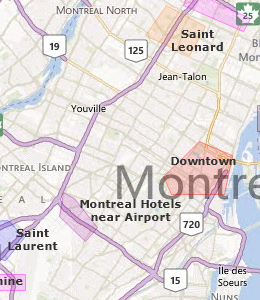 Map of Montreal, QC hotels