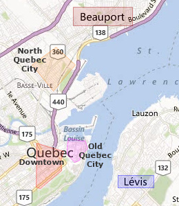 Map of Quebec City, QC hotels