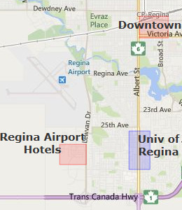 Map of Regina, SK hotels