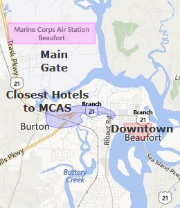 Map of Beaufort, SC hotels