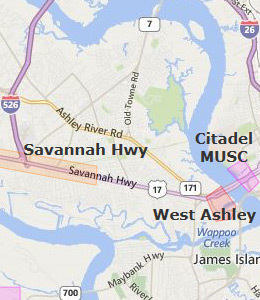 Map of Charleston, SC hotels