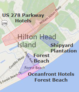 Map of Hilton Head, SC hotels