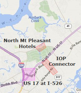 Map of Mount Pleasant, SC hotels