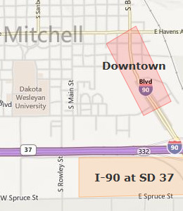 Map of Mitchell, SD hotels