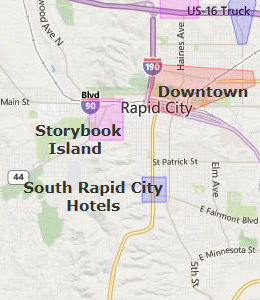 Map of Rapid City, SD hotels