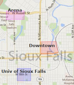 Map of Sioux Falls, SD Hotels | HotelGuides com