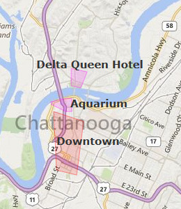 Map of Chattanooga, TN hotels