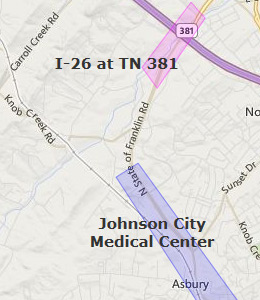 Map of Johnson City, TN hotels