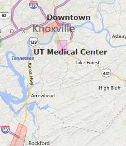 Map of Knoxville, TN hotels