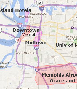 Map of Memphis, TN Hotels | HotelGuides.com