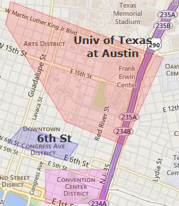 Map of Downtown Austin, TX hotels