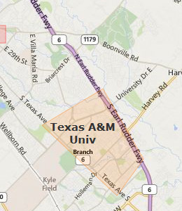 Map of College Station, TX hotels