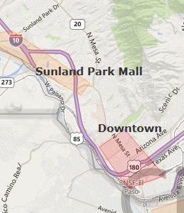 Map of El Paso, TX Hotels   HotelGuides.com