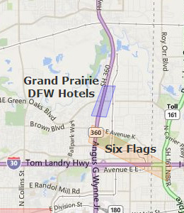 Map of Grand Prairie, TX hotels