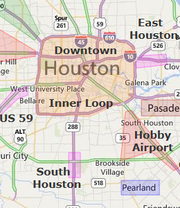 Map of Houston, TX hotels