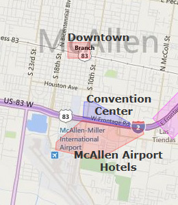 Map of McAllen, TX hotels