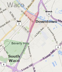 Map of Waco, TX hotels