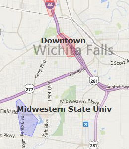 Map of Wichita Falls, TX hotels
