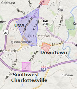 Map of Charlottesville, VA hotels