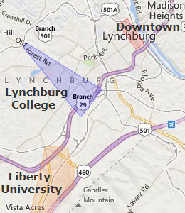 Map of Lynchburg, VA hotels