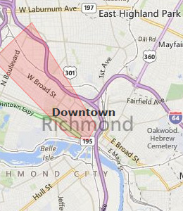 Map of Richmond, VA Hotels | HotelGuides.com