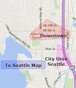 Map of Bellevue, WA hotels