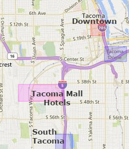 Map of Tacoma, WA hotels