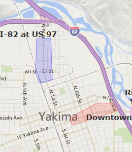 Map of Yakima, WA hotels